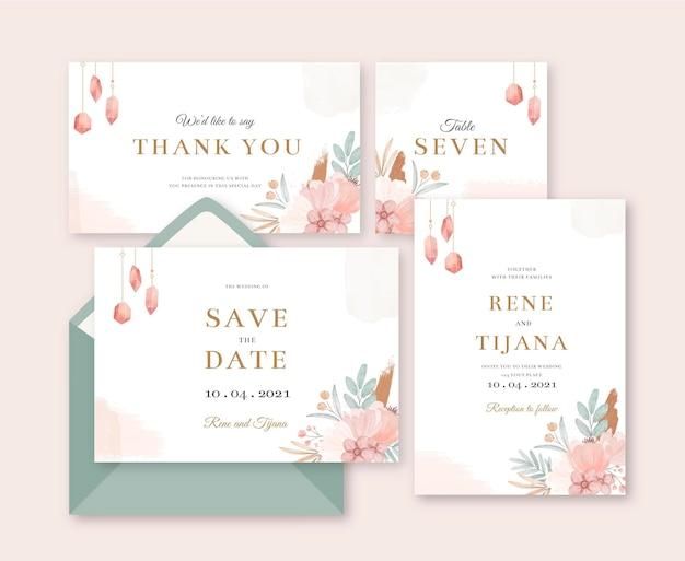 Aquarel boho bruiloft briefpapier