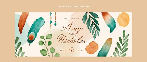 Aquarel boho bruiloft facebook cover