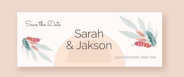Aquarel boho bruiloft facebook omslag met veren