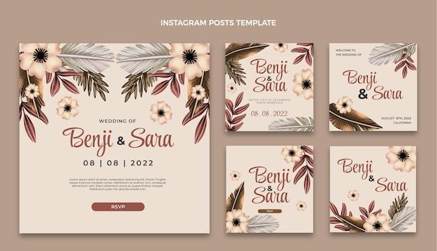 Aquarel boho bruiloft instagram-berichten