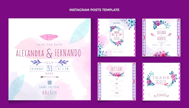 Aquarel boho bruiloft instagram post