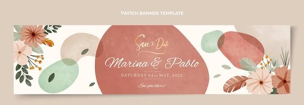Aquarel boho bruiloft twitch banner