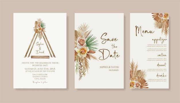 Aquarel boho bruiloft uitnodiging