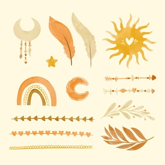 Aquarel boho elementen collectie