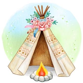 Aquarel boho lente tribal tent met kampvuur
