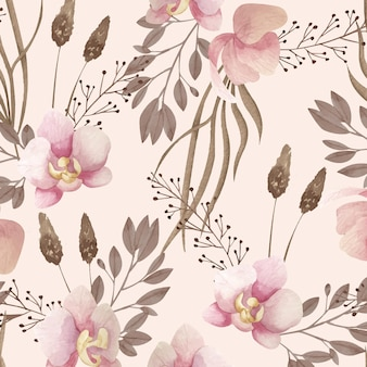 Aquarel boho patroon met bloemen