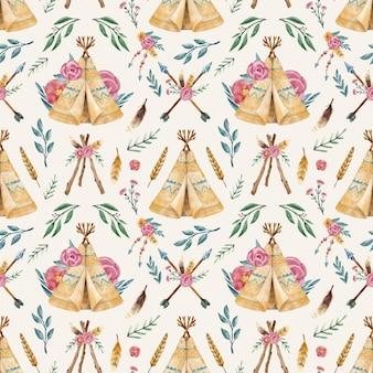 Aquarel boho patroon ontwerp illustratie