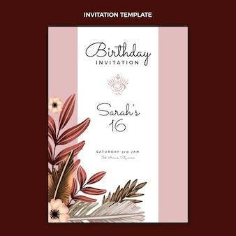 Aquarel boho verjaardagsuitnodiging