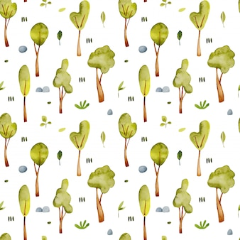 Aquarel bomen naadloze patroon