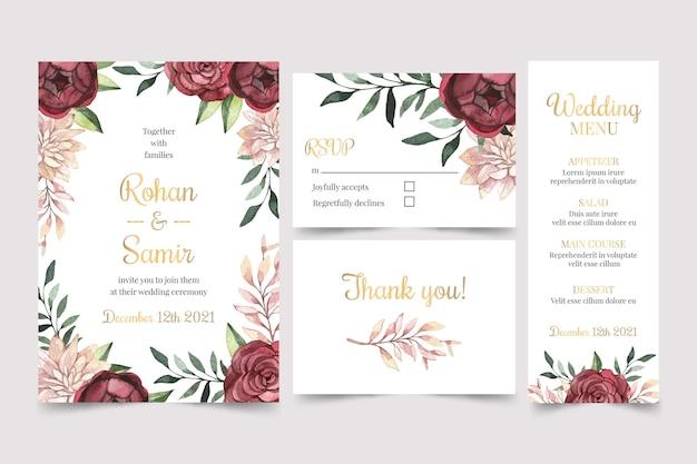 Aquarel bordeaux en gouden bruiloft briefpapier