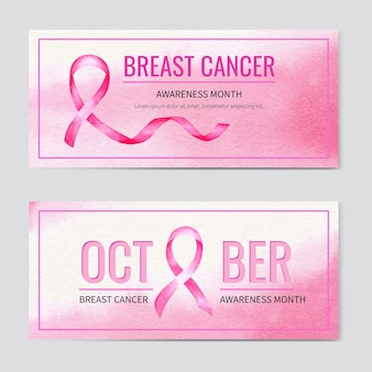 Aquarel borstkanker bewustzijn maand horizontale banners set