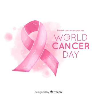 Aquarel borstkanker bewustzijn met lint