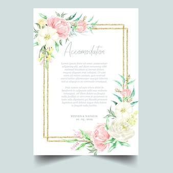 Aquarel botanische floral gouden frame & achtergrond