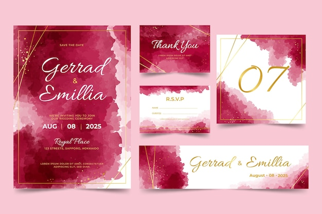 Aquarel bourgondië en gouden bruiloft briefpapier set