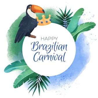 Aquarel braziliaanse carnaval achtergrond met vogels