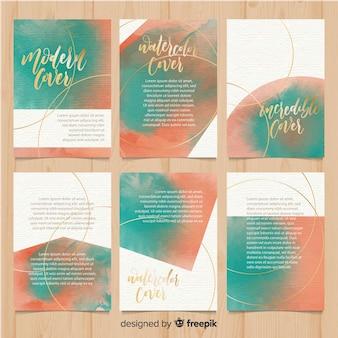 Aquarel brochure sjabloon collectie