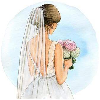 Aquarel bruid illustratie witte jurk en sluier