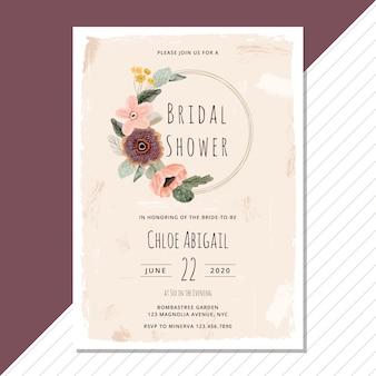 Aquarel bruids douche met bloemen krans