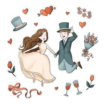 Aquarel bruidspaar met rozen en wijn