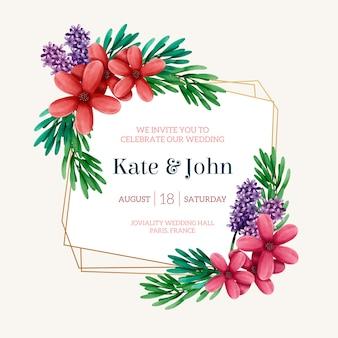 Aquarel bruiloft bloemen frame