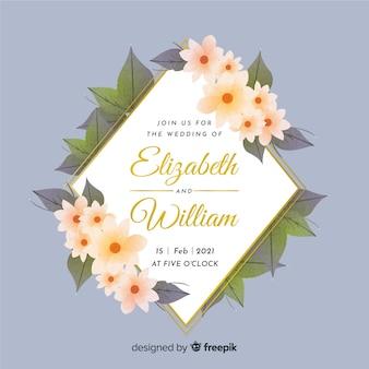 Aquarel bruiloft bloemen uitnodiging