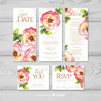 Aquarel bruiloft briefpapier sjabloon collectie