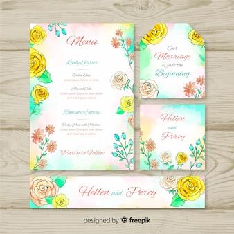 Aquarel bruiloft briefpapier sjabloon set