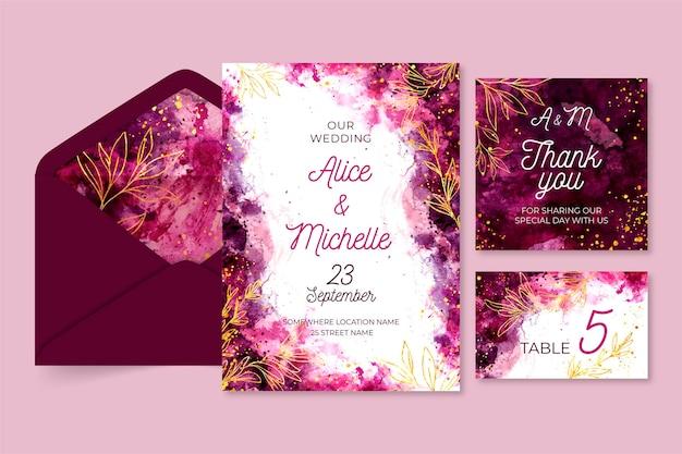 Aquarel bruiloft briefpapier sjabloon