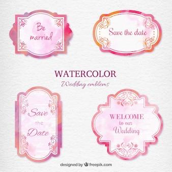 Aquarel bruiloft emblemen