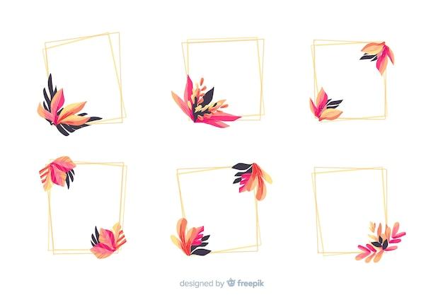 Aquarel bruiloft frame logo's collectie