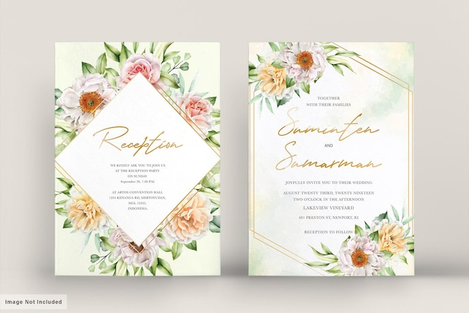 aquarel bruiloft kaart met elegante rozen en pioenrozen