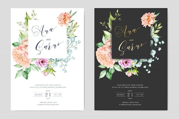 Aquarel bruiloft kaarten met florale frame