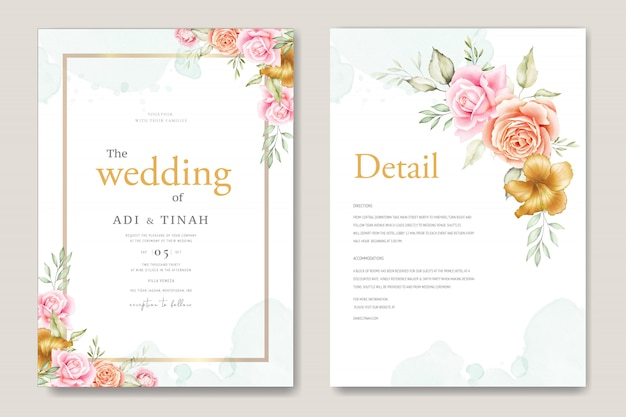 Aquarel bruiloft kaartensjabloon met prachtige bloemen en bladeren