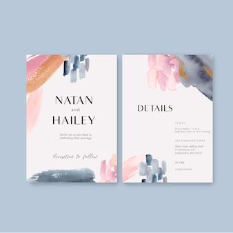 Aquarel bruiloft kaartsjabloon met penseelstreken