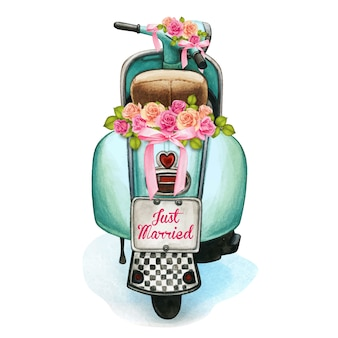 Aquarel bruiloft scooter met florale decoraties