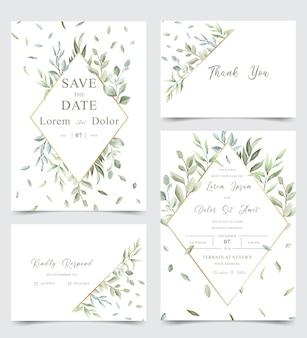 Aquarel bruiloft stationaire sjabloon collectie met groen bladeren