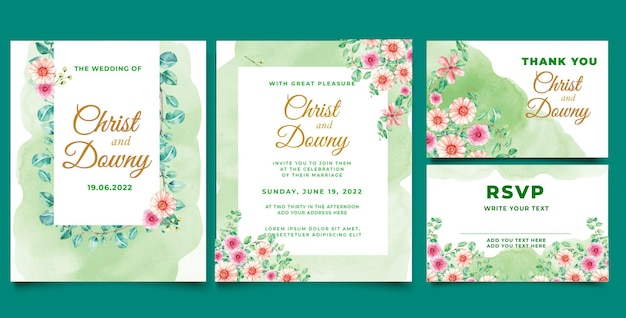 Aquarel bruiloft uitnodiging blad eucalyptus vectorillustratie