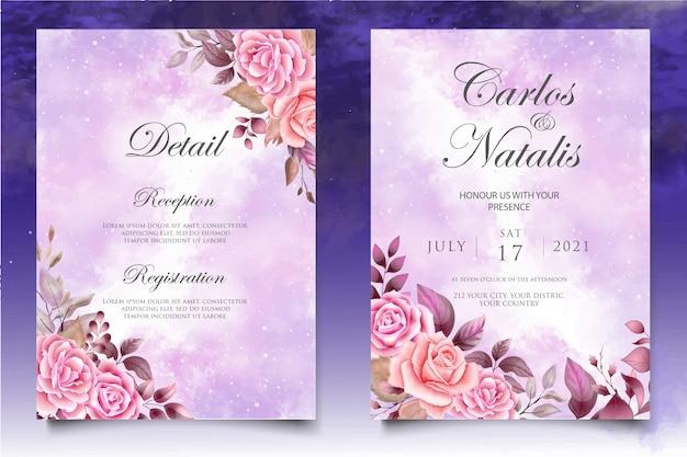 Aquarel bruiloft uitnodiging bloemen en bladeren kaartsjabloon