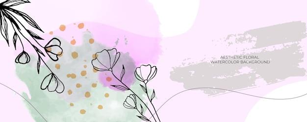 Aquarel bruiloft uitnodiging kaart sjabloon achtergrond met lijn decoratie. abstracte achtergrond bewaar de datum, uitnodiging, wenskaart, multifunctionele vector