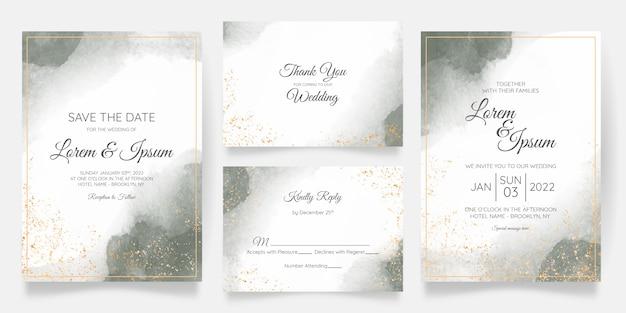 Aquarel bruiloft uitnodiging kaartsjabloon ingesteld met gouden bloemendecoratie