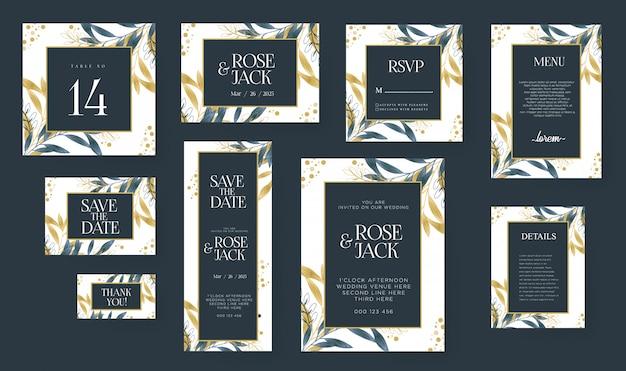 Aquarel bruiloft uitnodiging kaartsjabloon ingesteld met gouden florale decoratie