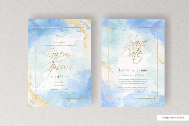 Aquarel bruiloft uitnodiging kaartsjabloon met aquarel handgeschilderde vloeibare aquarel