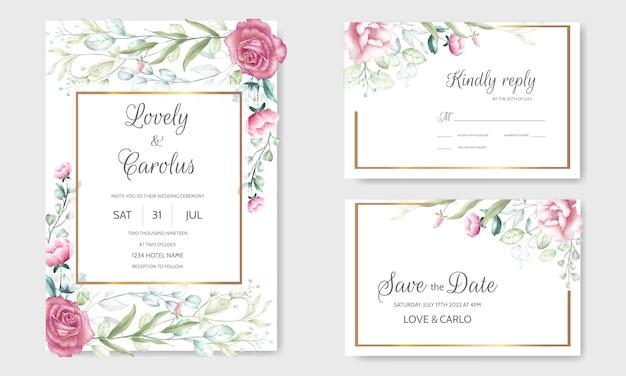 Aquarel bruiloft uitnodiging kaartsjabloon met een bloem en bladeren