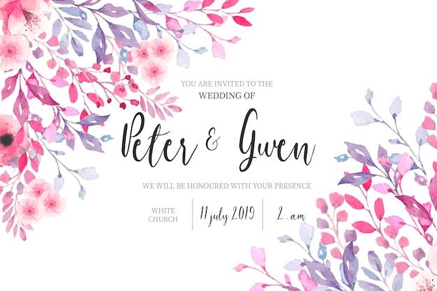 Aquarel bruiloft uitnodiging met florale rand