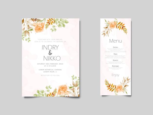 Aquarel bruiloft uitnodiging met oranje bloem en groen bladeren