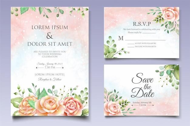Aquarel bruiloft uitnodiging ontwerpsjabloon