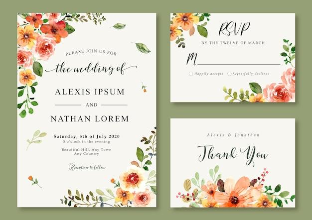 Aquarel bruiloft uitnodiging oranje bloemen lente en zomer thema