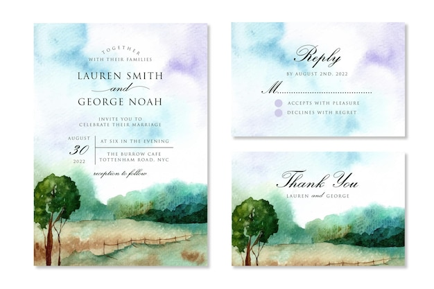 Aquarel bruiloft uitnodiging set met dromerig landschap