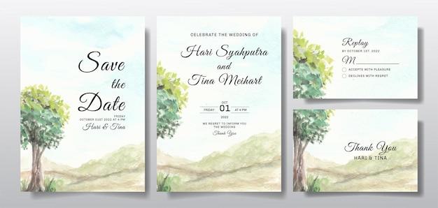 Aquarel bruiloft uitnodiging set met lucht en boom landschap