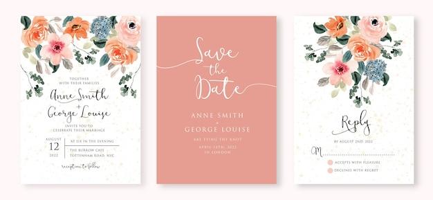 Aquarel bruiloft uitnodiging set met zachte weelderige bloemen